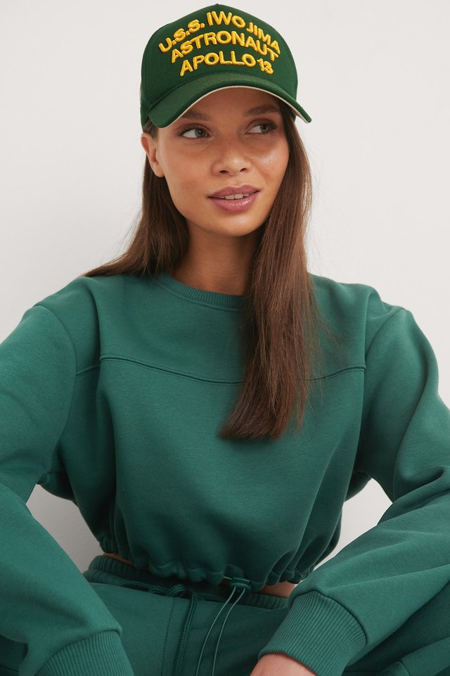 Green Organic Brushed Cropped Sweatshirt