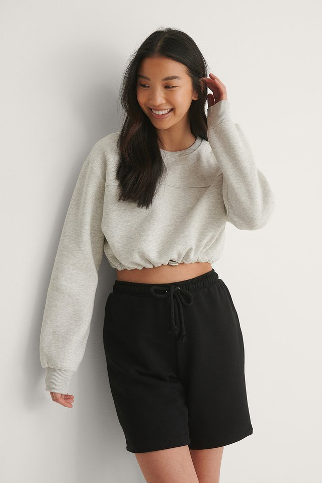 Grey Melange Organic Brushed Cropped Sweatshirt