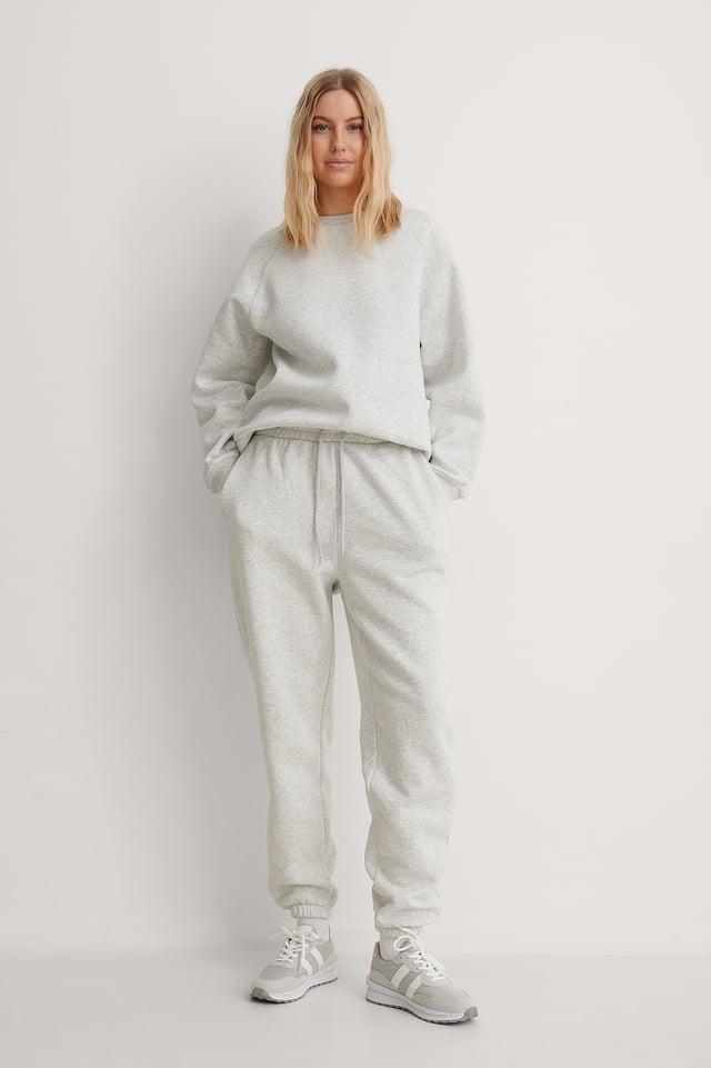 Grey Melange Pantalón De Chándal Estrecho Cepillado Orgánico