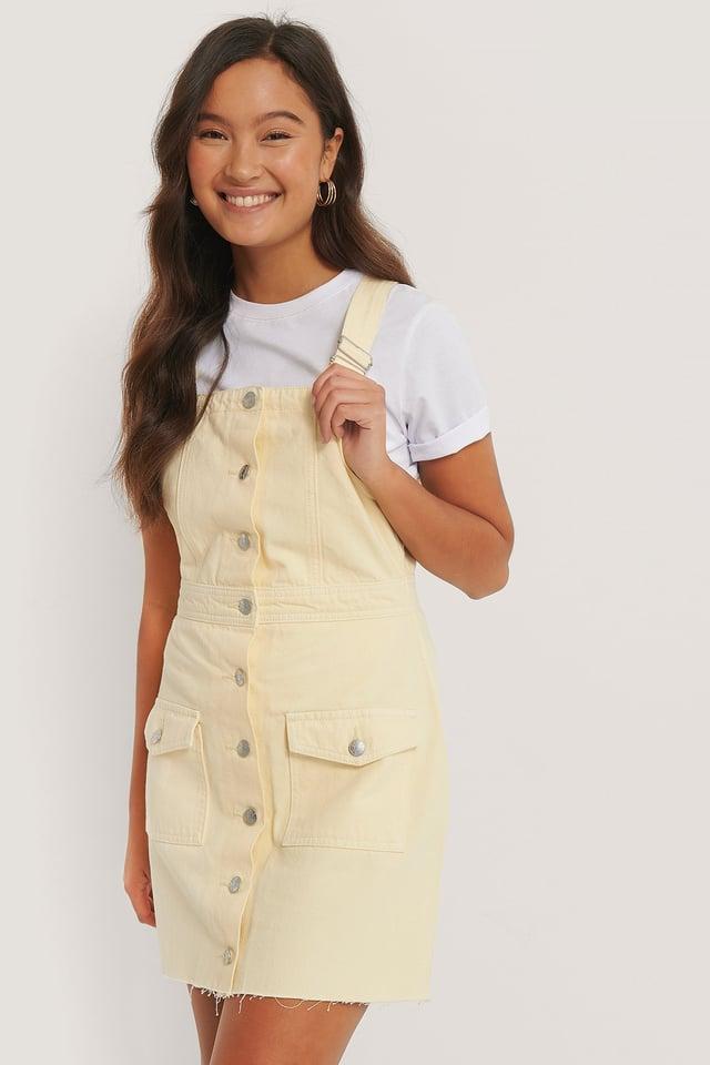 Yellow Organic Cotton Colored Denim Dress