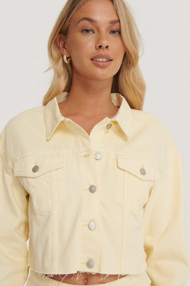 Organic Cotton Colored Denim Jacket Yellow