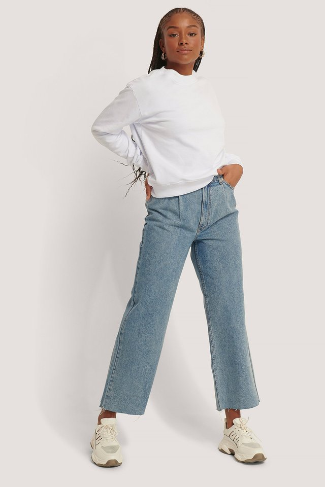 Light Blue Organic Cotton Pleat Detail Jeans