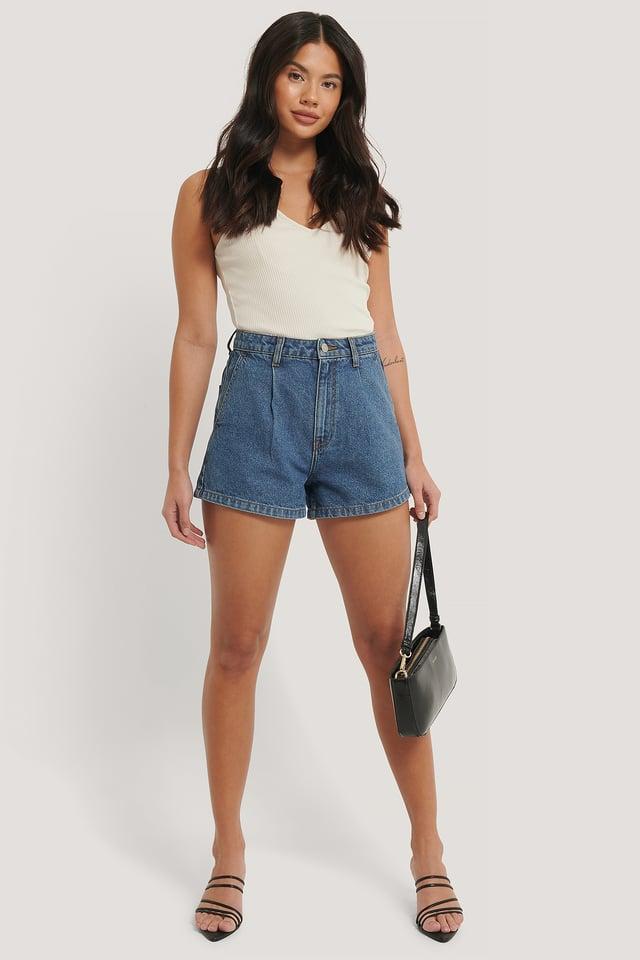 Mid Blue Organic Cotton Pleat Detail Shorts