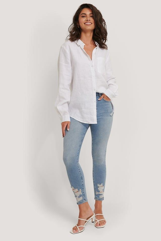 Light Blue Organic Cotton Ripped Hem Skinny Jeans