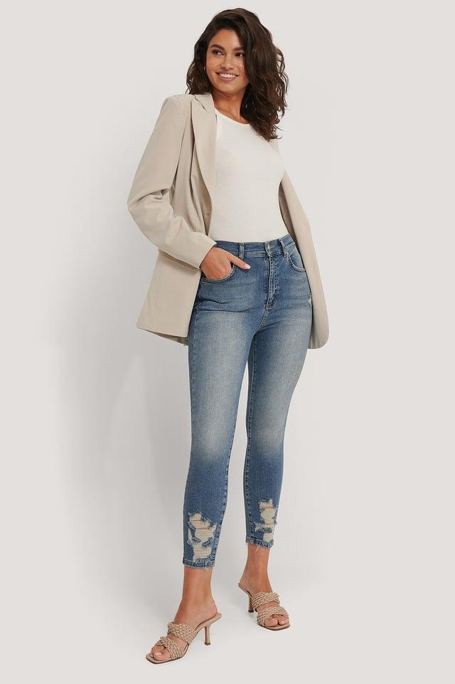 Mid Blue Organic Cotton Ripped Hem Skinny Jeans