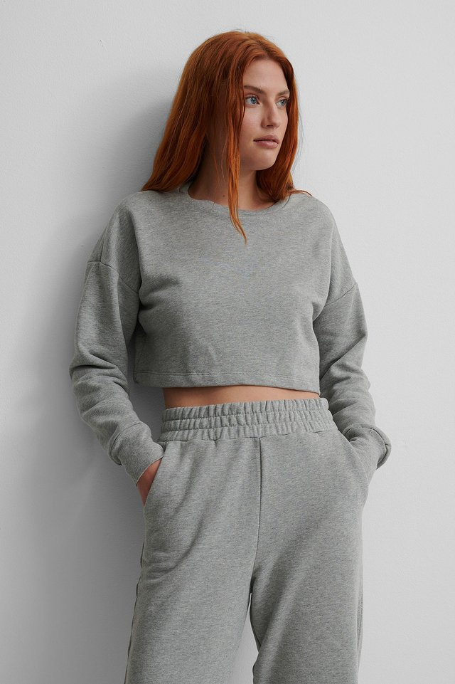 Grey Melange Organic Cropped Sweatshirt