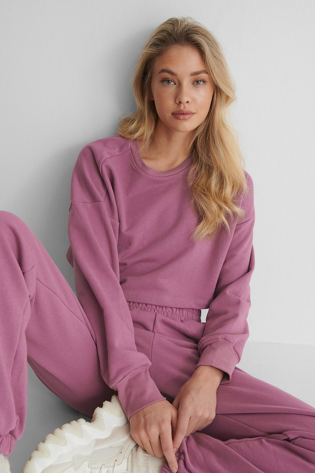 Organic Cropped Sweatshirt Purple