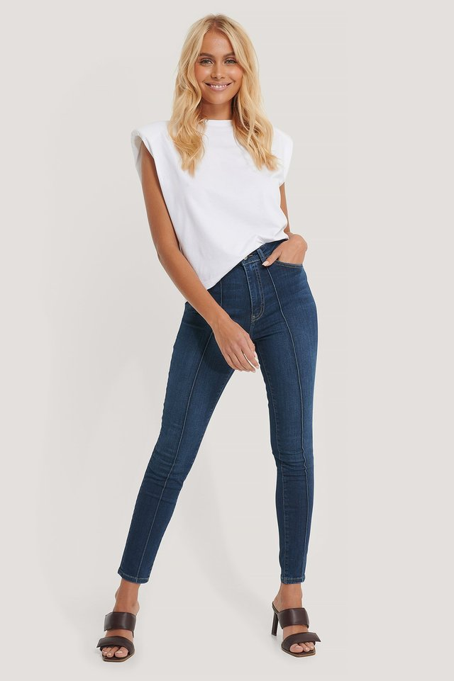Mid Blue Organic Front Seam Detail Jeans