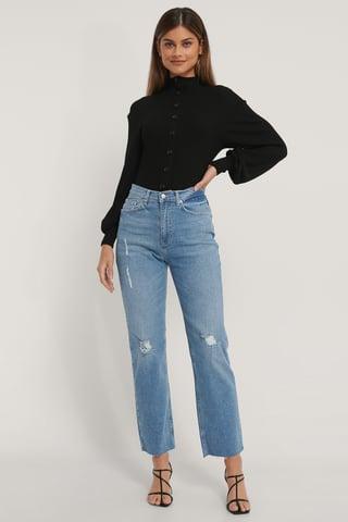 Light Blue Økologiske Hullede Højtaljede Lige Jeans