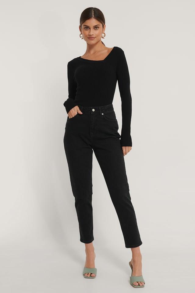 Økologiske Mom Jeans Black