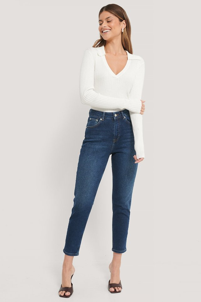 Dark Blue Ekologiska Mom-jeans