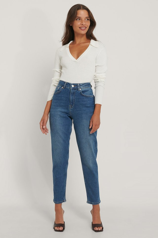 Mid Blue Organic Mom Jeans