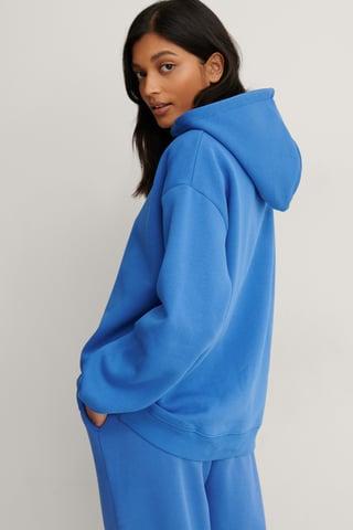Blue Økologisk Økologisk Oversize Hættetrøje