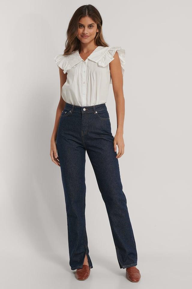 Dark Blue Økologiske Jeans Med Sideslids