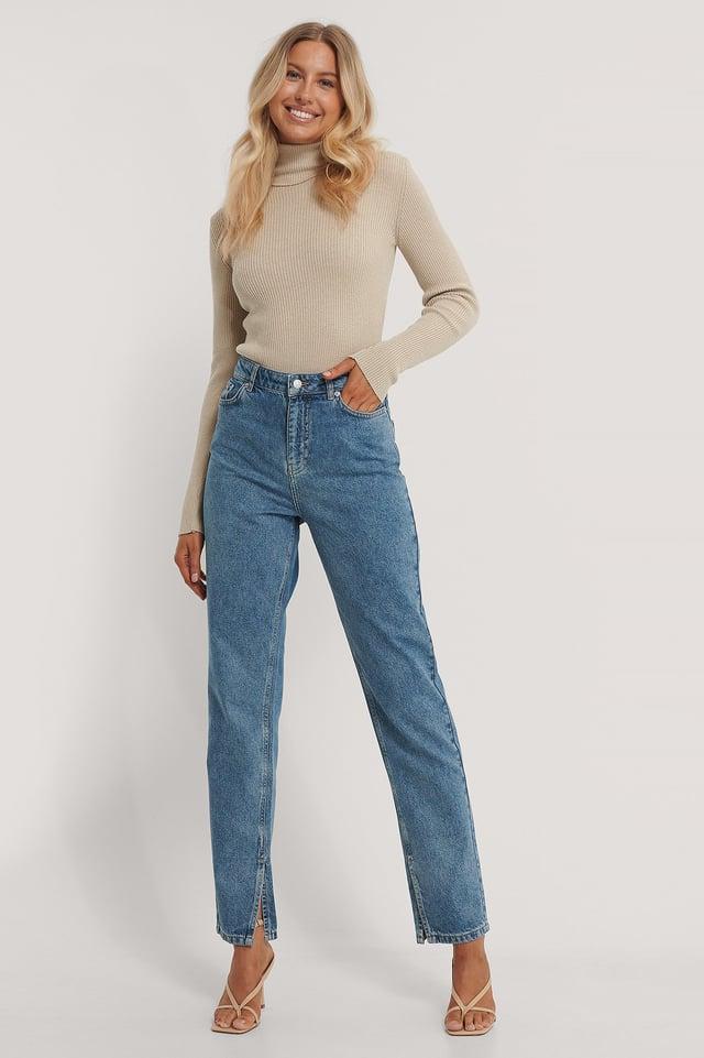 Mid Blue Organisch Jeans Met Zijsplit