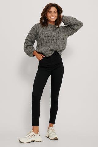 Black Organic Skinny High Waist Jeans