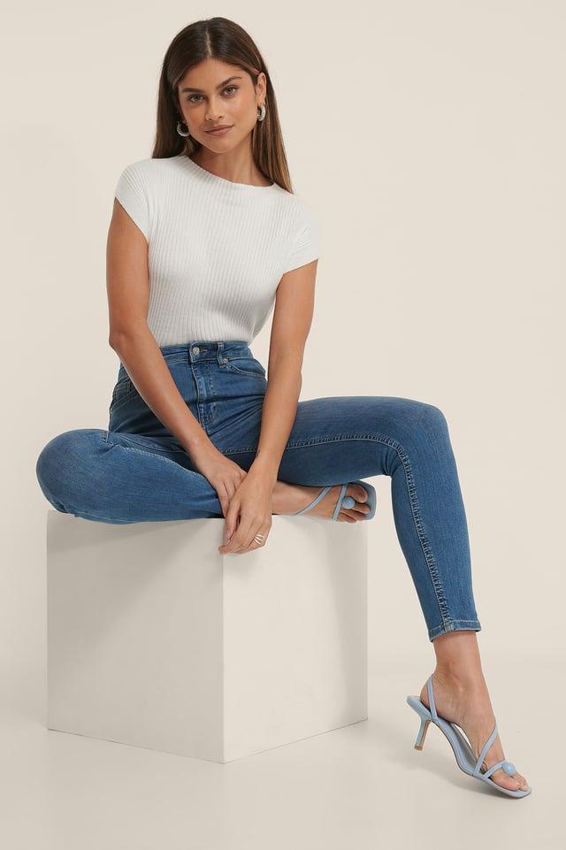 Mid Blue Organisch Skinny Jeans Met Hoge Taille