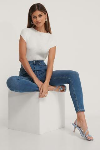 Mid Blue Organisch Skinny Jeans Mit Hoher Taille