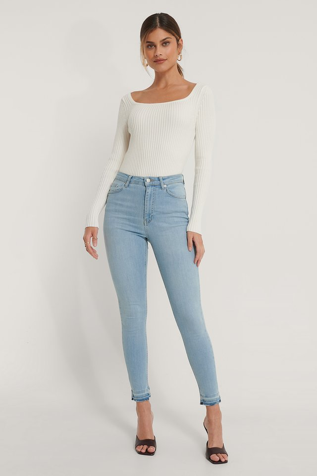 Light Blue Organic Skinny High Waist Open Hem Jeans