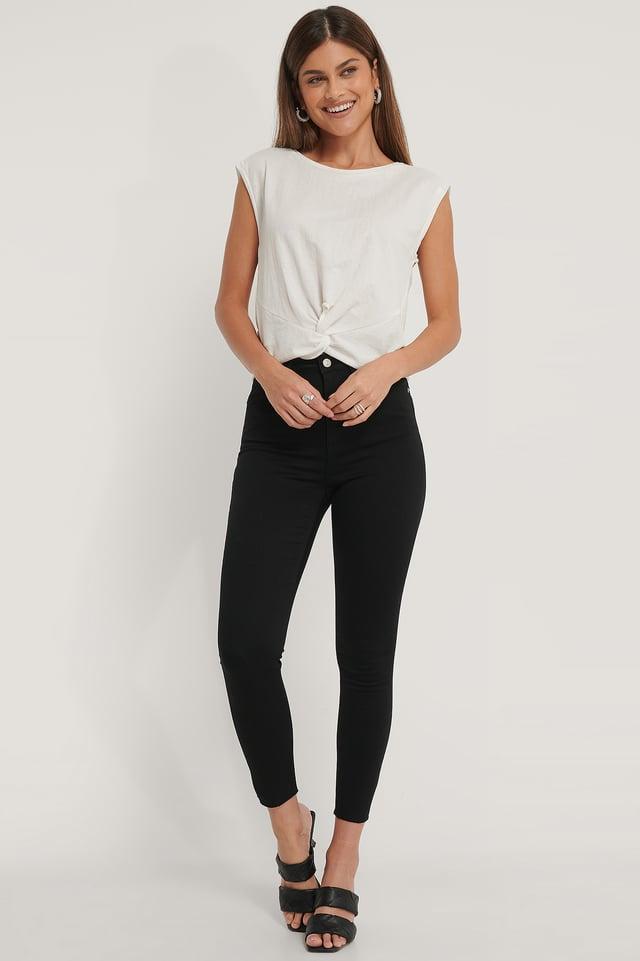 Black Organic Skinny High Waist Raw Hem Jeans