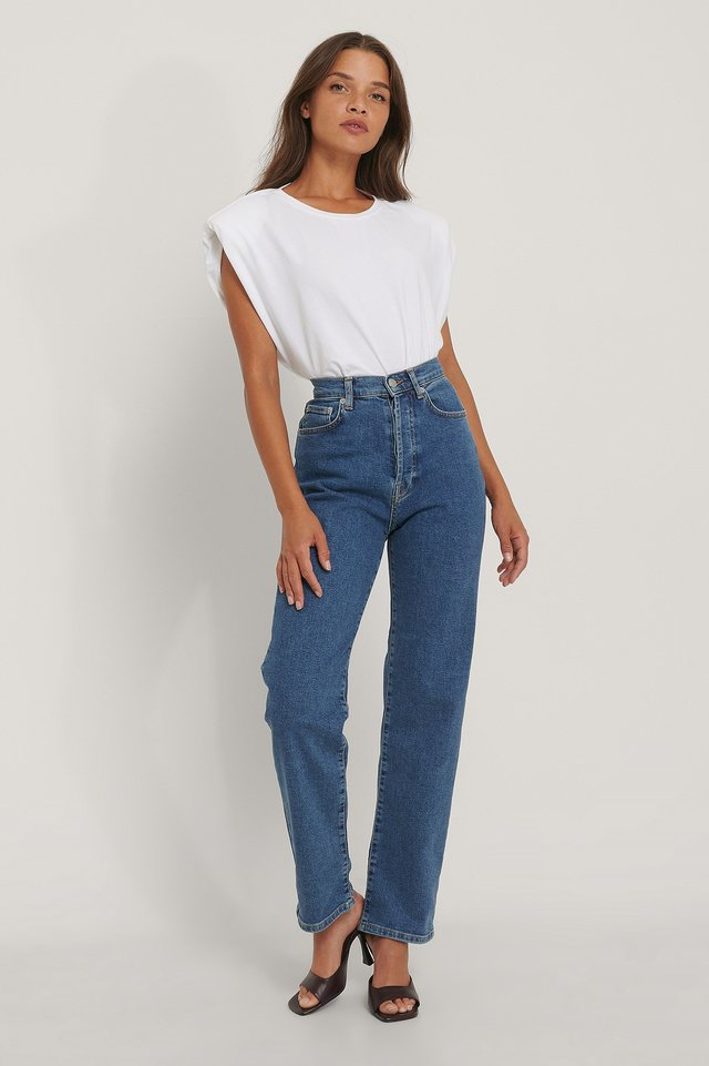 Mid Blue Straight High Waist Jeans