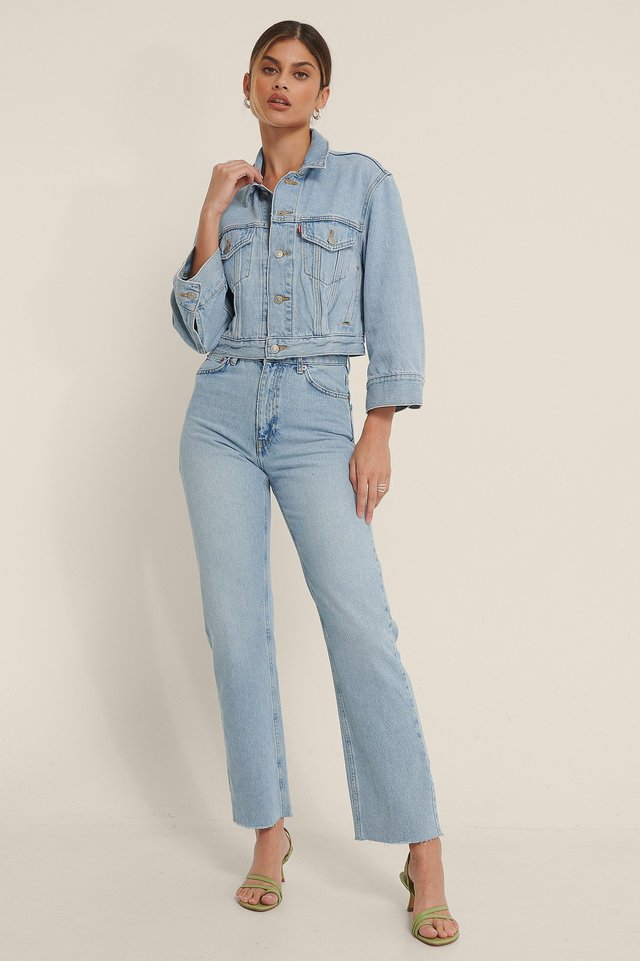 Light Blue Organic Straight High Waist Raw Hem Jeans
