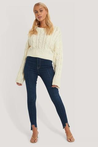 Dark Blue Organisch Jeans Super Hohe Taille Asymmetrischer Saum