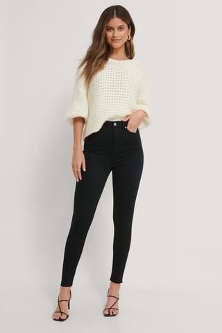 Black Organic Super High Waist Skinny Jeans