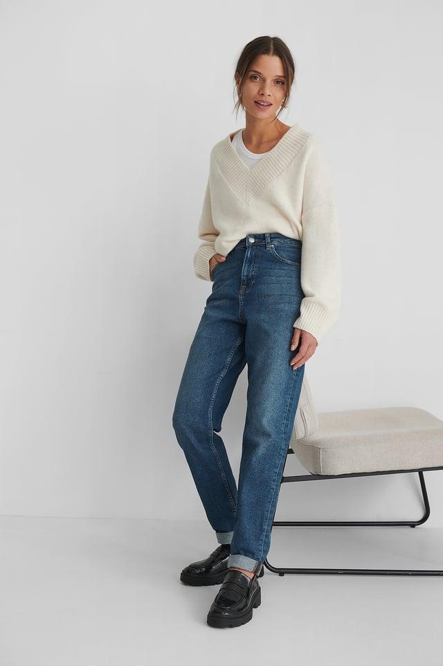 Mid Blue Organic Turn Up Mom Jeans