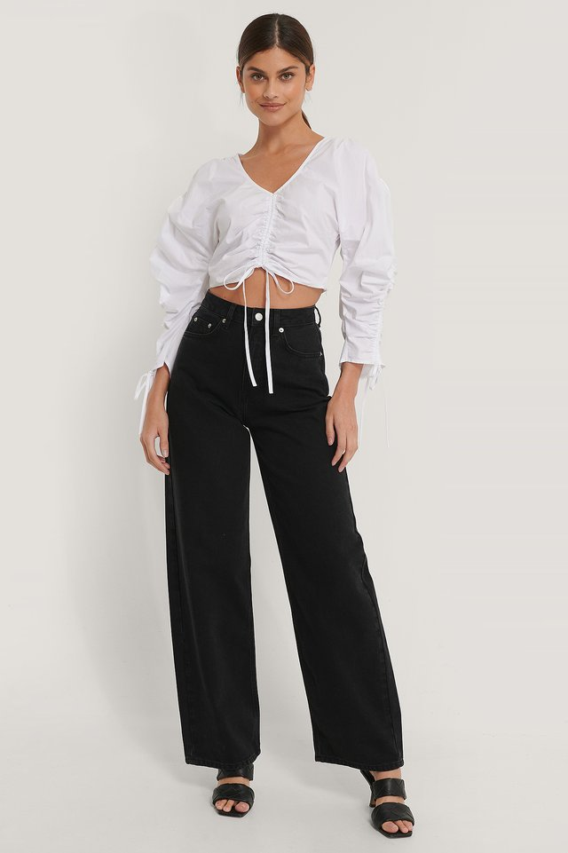 Black Organic Extra Wide Leg Denim