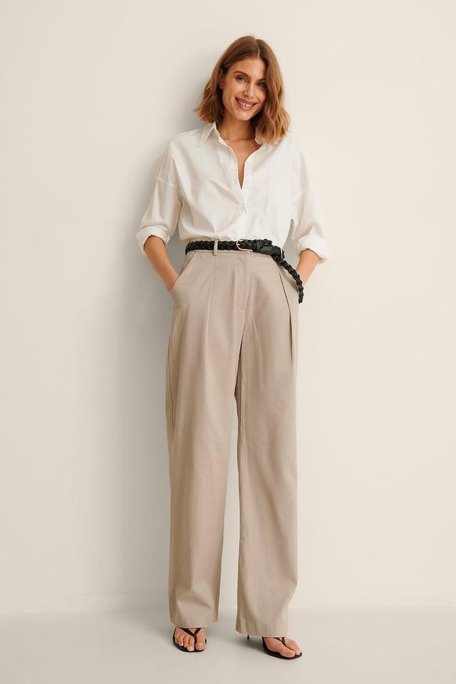 Greige Organic Wide Leg Detailed Cotton Pants