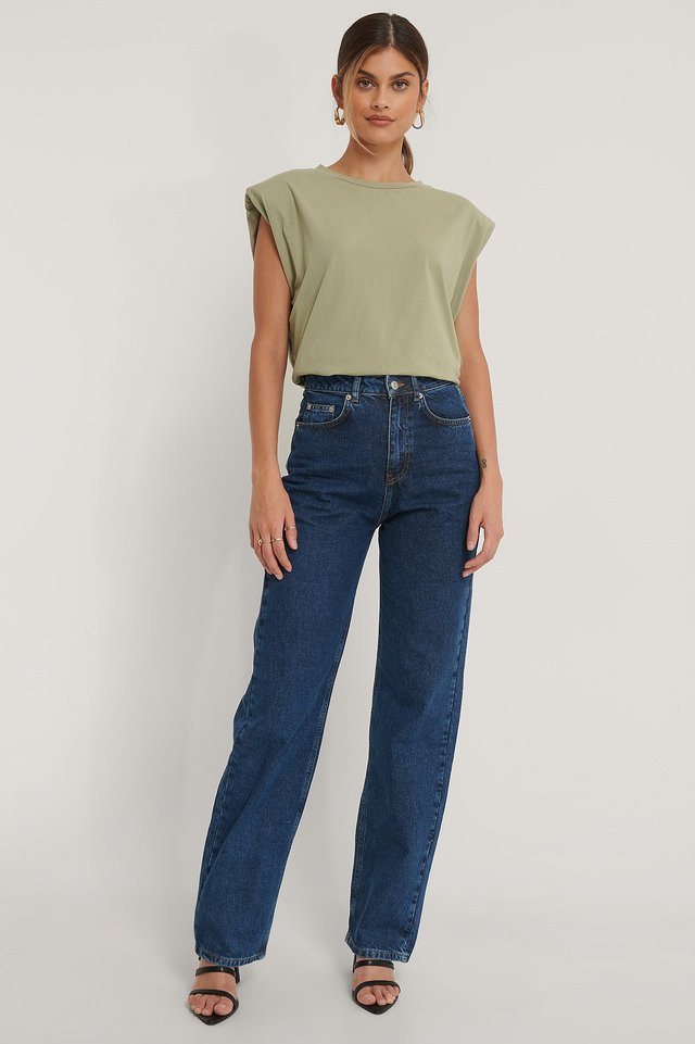 Mid Blue Organic Wide Leg High Waisted Denim