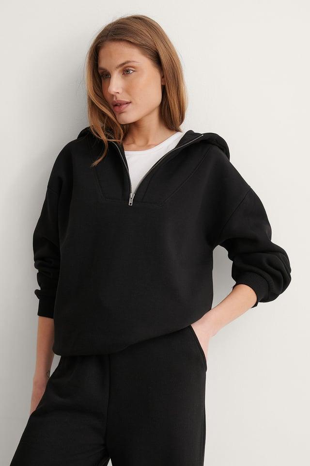 Black Organic Zip Hoodie