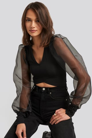 Black Organza Cropped Blouse