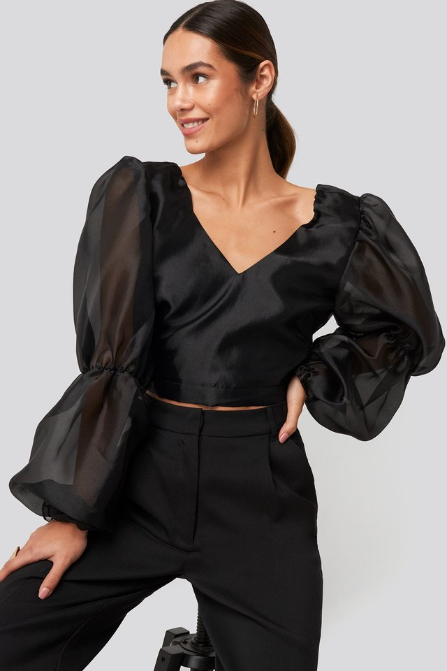 Organza Puff Sleeve Crop Top Black