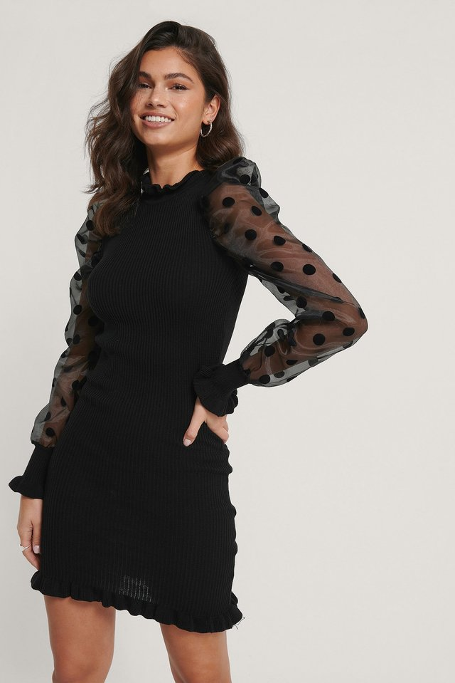 Black Organza Puff Sleeve Knitted Dress