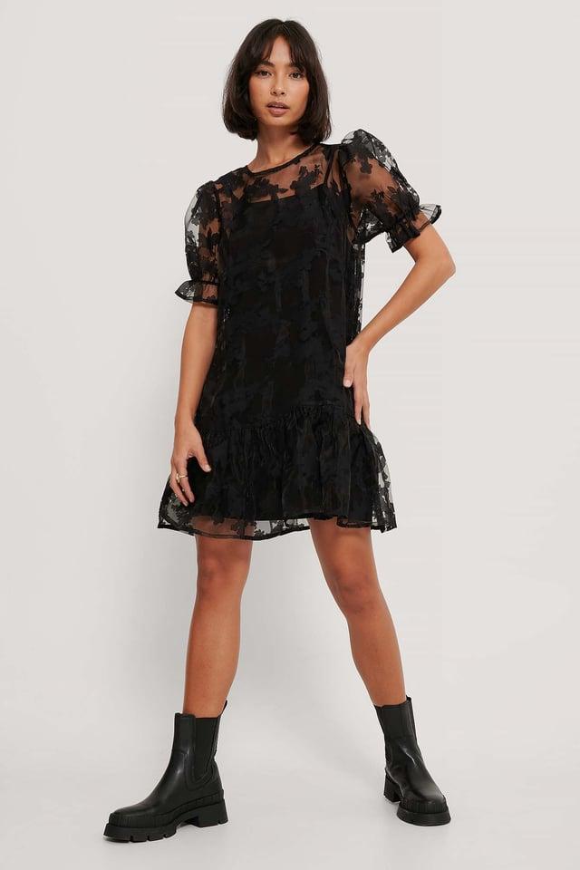 Black Organza Ruffle Hem Dress
