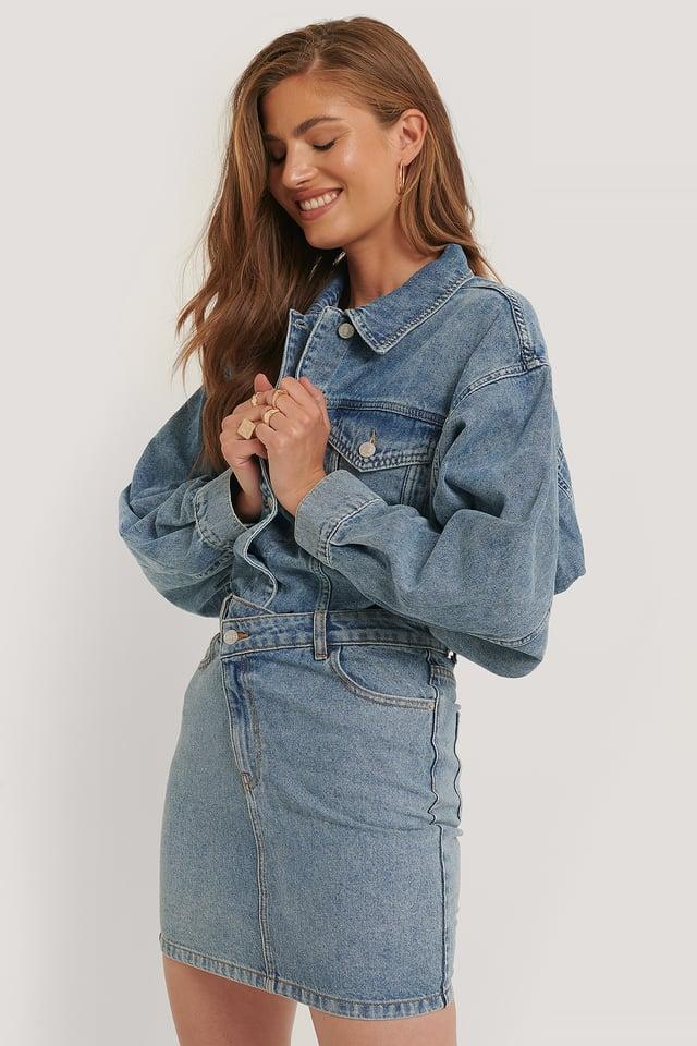 Light Blue Organic Cotton Asymmetric Denim Skirt