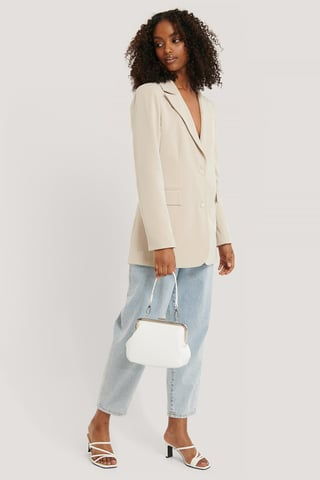 White Ostrich Look Clasp Bag