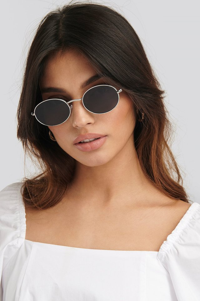 Oval Metal Frame Sunglasses Silver