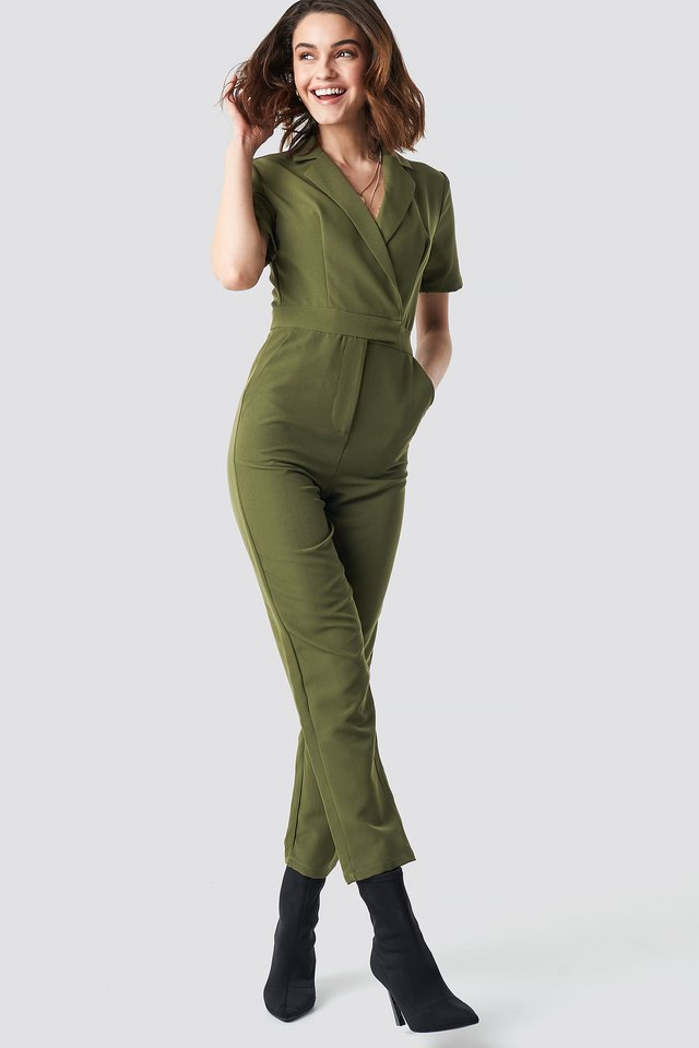 Overlap Collared Jumpsuit Green