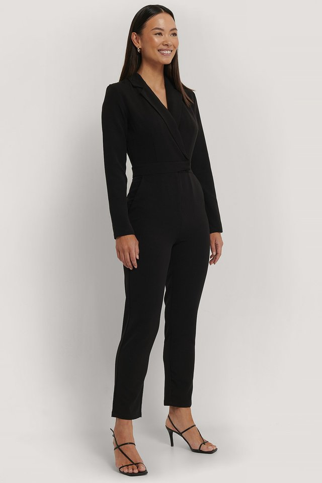 Black Overlap Collared Long Sleeve Jumpsuit