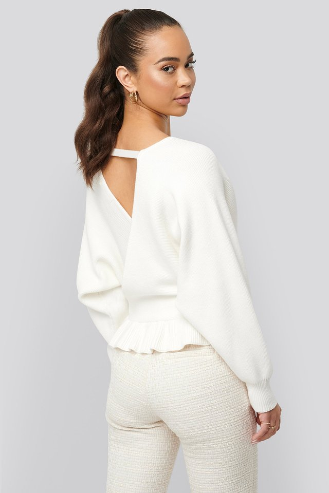 Overlap Flounce Knitted Sweater Offwhite