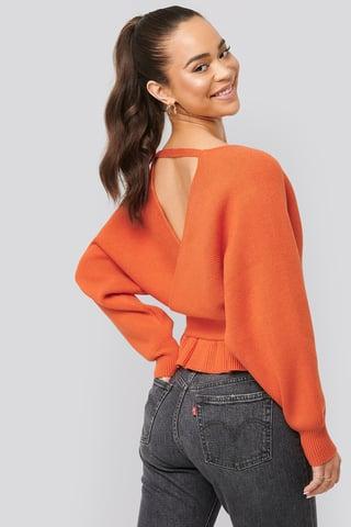Orange Overlap Flounce Knitted Sweater