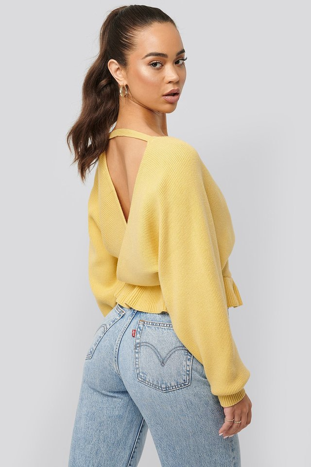 Overlap Flounce Knitted Sweater Dusty Yellow