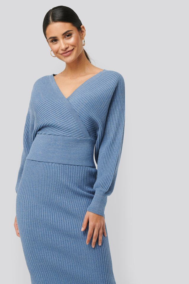 Overlap Glittery Knitted Sweater Blue