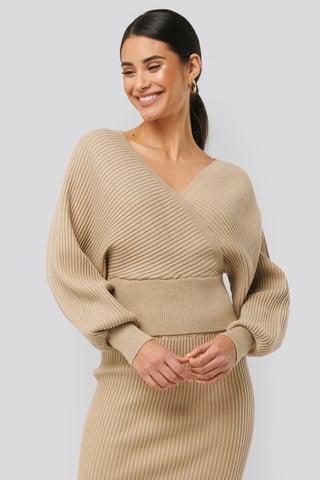 Beige Overlap Glittery Knitted Sweater