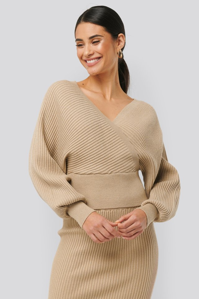 Overlap Glittery Knitted Sweater Beige