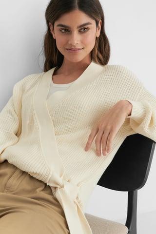 White Ekologiczny Sweter Z Dzianiny