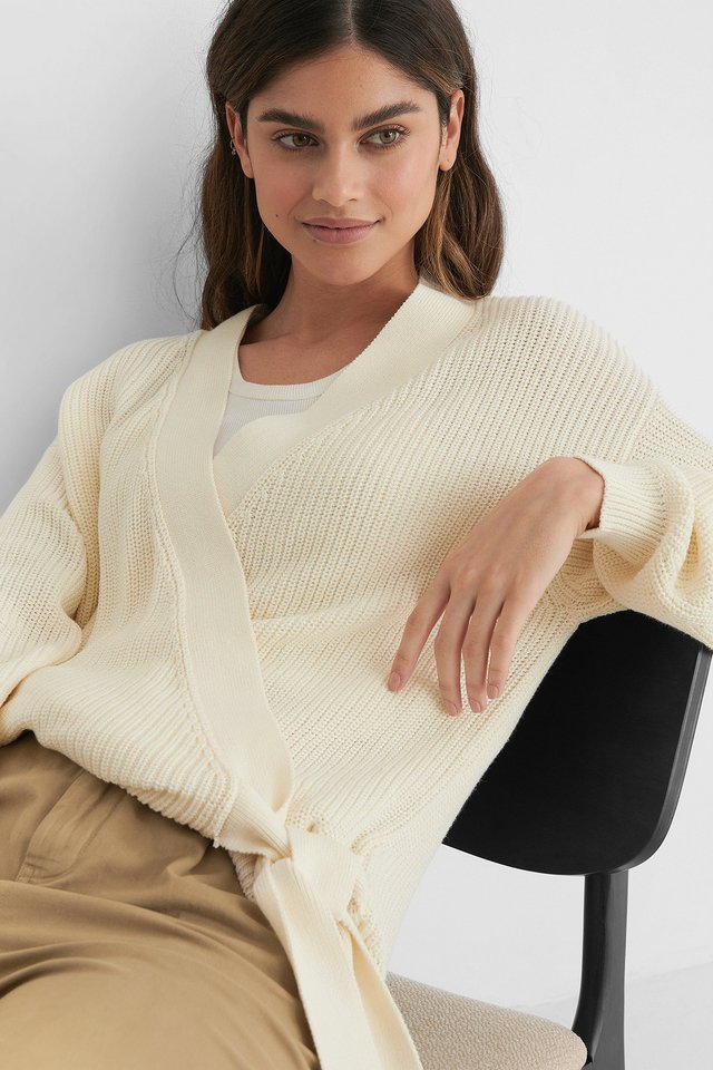 White Organic Overlap Knitted Sweater